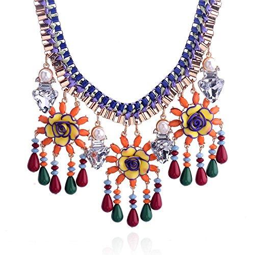 Lureme® perle finte rotonda con pendenti in cristallo triangolo e gardenia con perle pendenti etnico collana 01001919-parent (giallo)