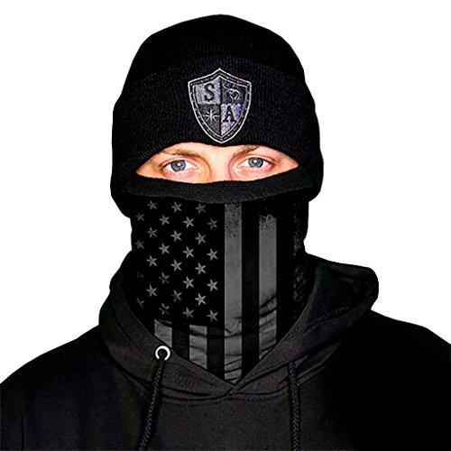 lds ** Thermal Fleece (Frost Tech) ** - 40 FARBEN zur AUSWAHL || IDEAL FÜR KALTE TAGE! Qualitäts Bandana / Multifunktionstuch / Schlauchtuch / Halstuch aus Stoff // Face Masks von SA Company, Blackout American Flag Fleece Lined (Flag Bandana)
