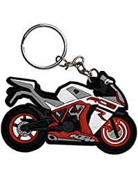 GCT KTM RC8 Logo Synthetic / Rubber Bike Keychain / Keyring / Key Ring / Key Chain (Red/White/Black)