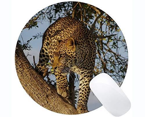 Gaming Round Mouse Pad Benutzerdefinierte, Tree Leopard Round Mouse Pad mit genähtem Rand