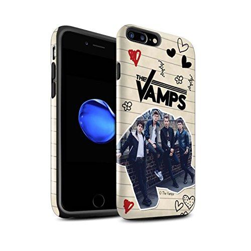 Officiel The Vamps Coque / Brillant Robuste Antichoc Etui pour Apple iPhone 7 Plus / Collage Design / The Vamps Livre Doodle Collection Stylo Noir