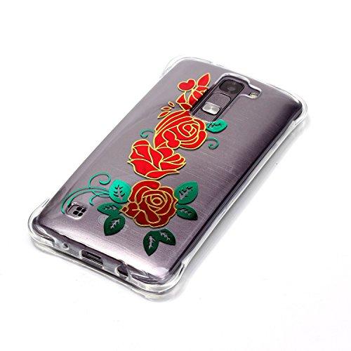CaseHome Coque iPhone 7 (4.7 Pouce) en Silicone Housse [avec Gratuit Protections D'écran],Glitter Sparkle Métal Effect de Imprimé Coloré Motif Coussin D'air Coin Cristal Clair Ultra Mince Antichoc Tra Fleur Rose