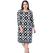 2d2d18c8af Chicwe Mujeres Tallas Grandes Vestido Recto Estampado Tacto de Cachemira - Vestido  Casual en Oficina con