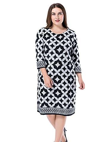 Chicwe Damen Kleid Große Größen Cashmere Touch Bedruckt 48, Grau