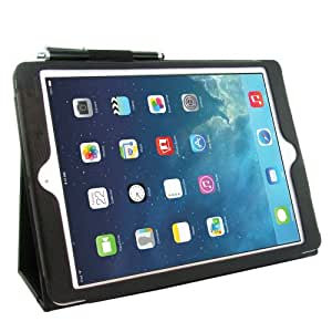 Kolay Advance Multi Function Flip Cover Leather Stand Case with Screen Protector Film/Stylus Pen for Apple iPad Air - Black