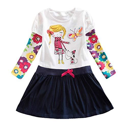 (Streifen Punkt Karikatur Party Kleid Kleinkind Mädchen Langarm Outfits Kleidung)