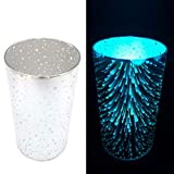 2er Set Windlicht aus Glas mit LED-Kerze - Warmweiße oder Farbwechsel Beleuchtung inkl. Timer