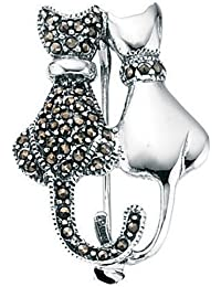 Elements Sterling Silver Ladies Marcasite and Plain Double Cat Brooch