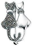 Elements Damen Brosche Katzen-Design Sterling-Silber 925 1 Katze mit Markasiten und 1 Katze schlicht