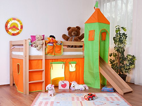 hochbett-spielbett-alex-mit-rutsche-buche-natur-lackiert-inkl-stoffset-grun-orange