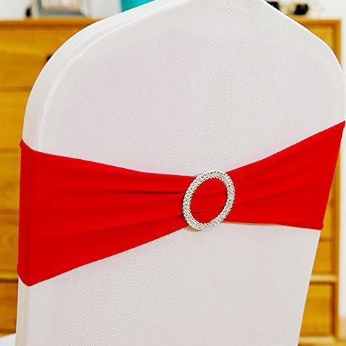 ONEVER 10PCS Spandex Stretch-Stuhl-Abdeckung Sch?RPE-Bogen-Hochzeit w/Buckle Slider Sch?RPEN Red