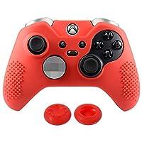 EXtremeRate® Soft Anti-RutschSilikon Schutzhüllen Gehäuse Tasche Case Cover Thumbstick Griff Caps Skins für Microsoft Xbox One Elite Rot