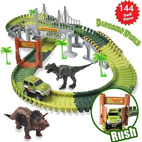 BOEHNER Dinosaurier Spielzeug Slot Car Race Track Sets Jurassic World mit flexiblen Spuren 2 Dinosaurier 1 Militärfahrzeuge, 4 Bäume, 2 Pisten, 1 Doppeltür und 1 Hängebrücke für Kindergeschenk