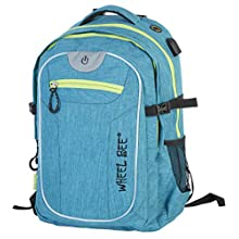 Wheel-Bee Revolution Backpack, Design: Turquoise, with Integrated LED Light (Green) and Reflective Strips for Safety and Visibility, Volume 30 Liters, Numerous Compartments, 950051