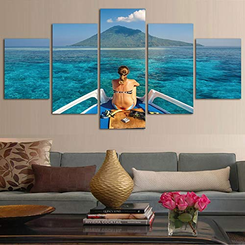 AIPIOR Kunst Bilder Wohnzimmer Rahmen Hd Gedruckt Malerei 5 Panel Junge Frau In Baden Und Tauchen Kostüm Moderne Dekoration Wand - Religion Themen Kostüm