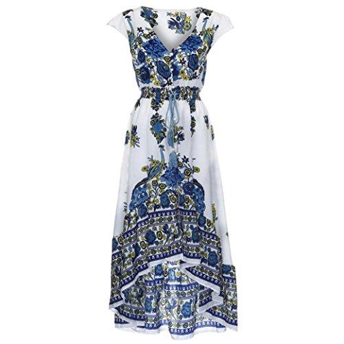 Kleid Damen Sommer, Bekleidung Longra Frauen Boho drucken Blumen Retro Palace V-Ausschnitt langes Maxi Abendkleid Strand Kleid (M, White) - Regelmäßige Länge Arm Ärmel