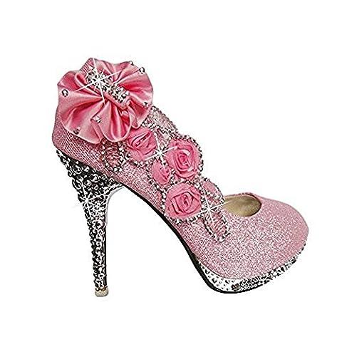 Padgene Escarpins Mariage Talons Hauts Talon Aiguille Bout Fermé Fleurs Strass Diamant Soirée Cérémonie Taille 34 46 Femme(rose,38)