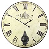 Something Different Café des Marguerites 58cm Vintage Shabby Chic Style, Uhr mit Pendel