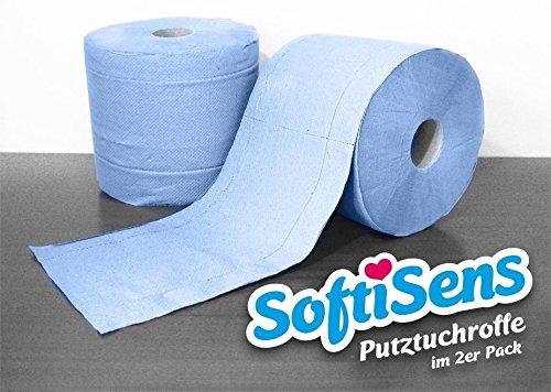 2 x hochwertige Werkstattrollen blau, 1.000 Blatt 3 lagig, 36x38cm, Putzrolle, Reingungstücher -