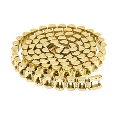 Blisfille Kette Gold Junge Halskette Gold Edelstahl Gold Panzerkette Vergoldet Halskette Gold Herren Hochglanzpoliert Rund Ohne Anhänger Kette Hip Hop Ketten Gold Lange 76.2 cm
