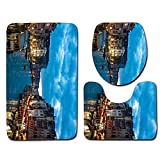 xiaohanzh Druck 3 Stück/Satz Von Badteppich Badteppich rutschfeste Bad Fußmatten Wc-Abdeckung, Saugfähigen Wc-Teppich, Polyester Flanell@45X75Cm