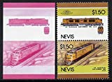 Nevis 1986 Locomotives #5 (Leaders of the World) Union Pacific Gas Turbine Loco $1.50 se-tenant imperf progressive proof pair in magenta & blue plus normal issued pair RAILWAYS JandRStamps