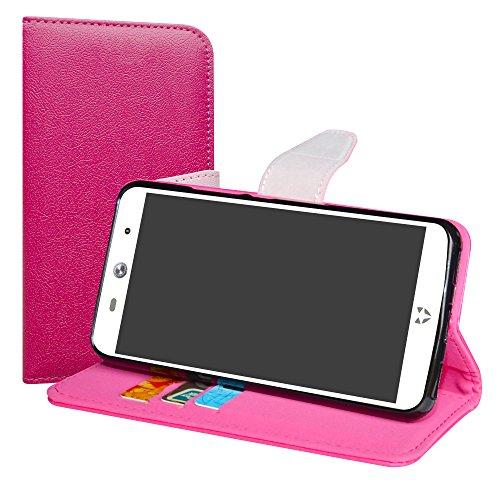 LiuShan WileyFox Swift 2 / Swift 2 Plus Hülle, Brieftasche Handyhülle Schutzhülle PU Leder mit Kartenfächer und Standfunktion für WileyFox Swift 2 / Swift 2 Plus Smartphone,Pink