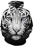 EUDOLAH Damen Kaputzenpullover Herbst Winter 3D Druck Textildruck mit Kapuze Hoodie (Größe L/XL, A-Blauäugiger Tiger)