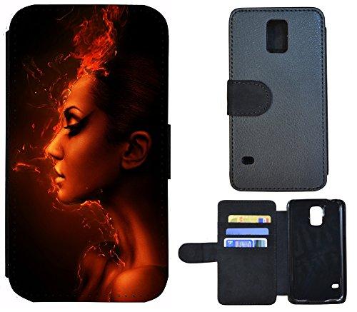 Flip Cover Schutz Hülle Handy Tasche Etui Case für (Apple iPhone 6 / 6s, 1170 Fussball Fußball Schwarz Gelb Feuer) 1167 Nofretete Frau Ägypten Schwarz Rot