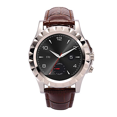 Silver Leather belt Android IOS Bluetooth Smart Watch Wearable Devices ECG Heart Rate Monitor Thermometer Fitness Tracker