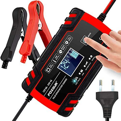 3T6B Caricabatterie per Auto, 4 in 1 Multi Impermeabile Protezioni Caricatore Intelligente Automatico per Auto, 12V/24V 8A Caricabatteria Mantenitore con Schermo Touch Screen LCD per Auto Moto, Moto