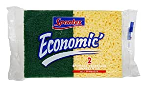 Spontex  Eponges Combinés Grattantes  2 Eponges Economic