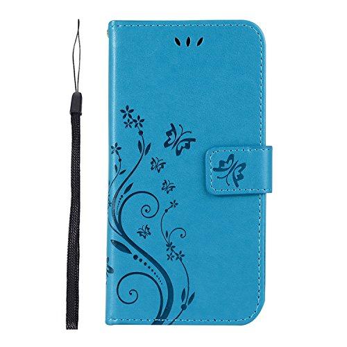 FANFO Samsung Galaxy J3 2018 Hülle, [Schmetterlings-Blumen-Reihe] Einschubfächer für Karten,Flip Bracket Funktion Senior PU-Leder Brieftasche Telefon-Kasten.Blau
