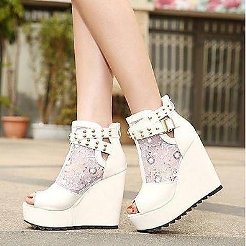 Mujer PeepToe Zapatos zapatos de mujer botines peep toe con tacón de cuña del remache más colores