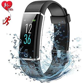 Montre Connectée Smartwatch Podometre Écran Couleur Etanche IP68 Montre Cardiofrequencemetre Sommeil pour Femme Homme Enfant 14 Multi-Sports Rappel dAppel ...