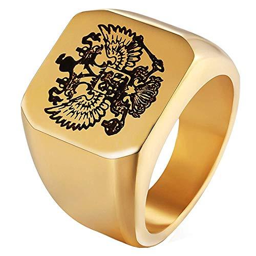 NBMCXC Edelstahl Schmuck 316L Gold russische Abzeichen Russische Nationalflagge Male Ring doppelköpfige Adler Logo Ring für Unisex Ringe Schmuck