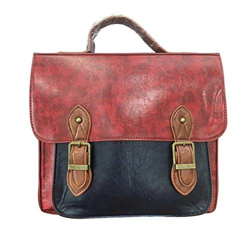 LaoZan Borsa Messenger da Donna Vintage in Finta Pelle Borsa a Tracolla Cartella Rosso Rosso