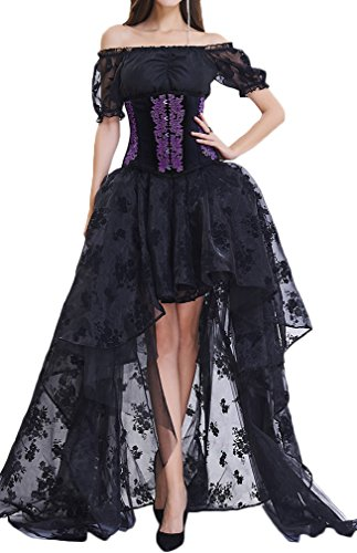 EUDOLAH Damen Schwarz Korsagen Gothic Taille Korset Lang Hauch Bluse Mini Korsett kurz Party Steampunk inkl. und Korsett Top (L (EU36-38), 1701 Schwarz) (Halloween Tops Korsett)