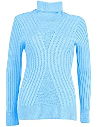 Home of Fashion Side Panel Ribbed Knit Roll Neck Long Sleeve Jumper - Various Colours