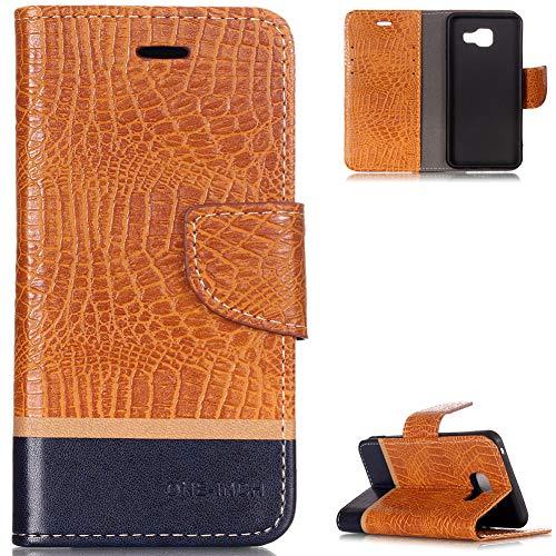 FNBK Hülle Kompatibel mit Samsung Galaxy A3 2016 Hülle Leder Handyhülle Orange,Tasche Krokodil Ledertasche Slim Wallet Flip Case Klapphülle Ständer Kartenschlitz Silikon für Galaxy A3 2016