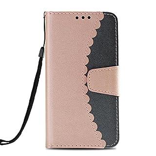 AmberMa Schutzhülle für iPhone (Brieftaschenformat, hochwertig, Durchsichtiges Design, PU-Leder/TPU, stoßfest, Kartenfächer, Magnetverschluss, Standfunktion, Klappetui, für iPhone