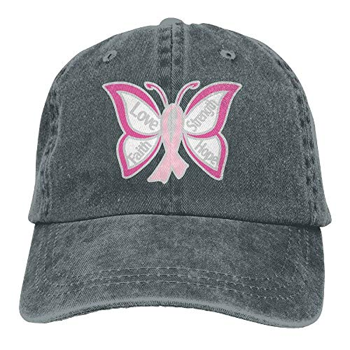 asagooder Men and Women Pink Ribbon Butterfly- Breast Cancer Vintage Jeans Baseball Cap -