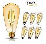 LED Edison Vintage Glühbirne, GogoTool 360° Weitwinkellicht, 400LM 2600-2700K 4W 220V ST64 Lampe Warmweiß E27 Retro Glühbirne Vintage Antike Glühbirne, Amber Warm, 6 Stück