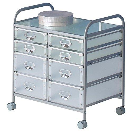 Rollcontainer Rollwagen ROLI, mit 8 transparenten Schubladen und Metallgestell