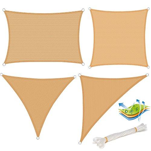WOLTU GZS1188sd15 Voile d'ombrage triangulaire perméable à l'air protection contre le soleil HDPE avec protection UV pour jardin terrasse camping,5x5x5m Sable