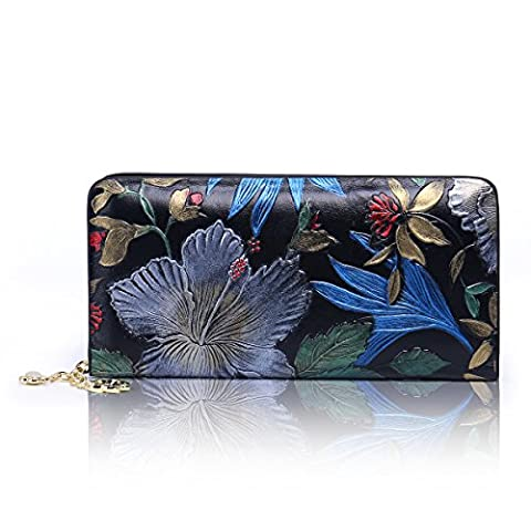 Aphison Classic Painted Clutch Genuine Leather Long Wallet Card Holder Purse /Gift Box (Black)
