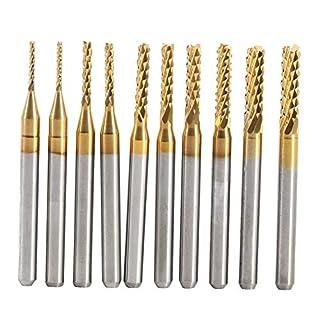 Fräser, 10 stücke Titan Beschichtete Schaftfräser Hartmetall CNC Fräser Werkzeuge 1,0-3,0mm für Leiterplatten, Metall, Kunststoff, Edelstahl und Kupfer, etc.