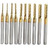 Fraises,10pcs Titane Enduit de Carbure Cémenté CNC pour Fraise en Bout Outils de Fraise CNC 1.0-3.0mm pour Cartes de Circuit Imprimé,Métal,Plastiques,Acier inoxydable et cuivre,etc