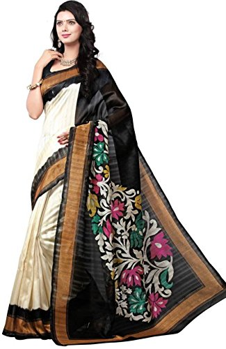 Pashimo Cream & Black Traditional Bhagalpuri Silk Printed Sarees for Women Party Wear - Latest Design ( With Blouse )  available at amazon for Rs.259