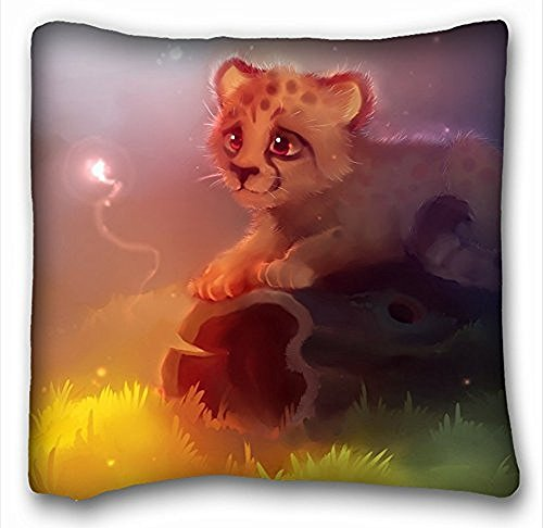 Decorative Square throw Pillow case Animals Cheetah Grass Log Light Yellow Green Lilac Eyes Magic 18 in x 18 in due parti